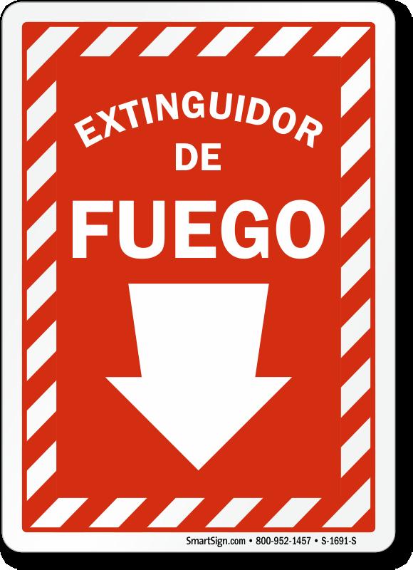 Spanish Extinguidor De Fuego Sign, Fire Extinguisher