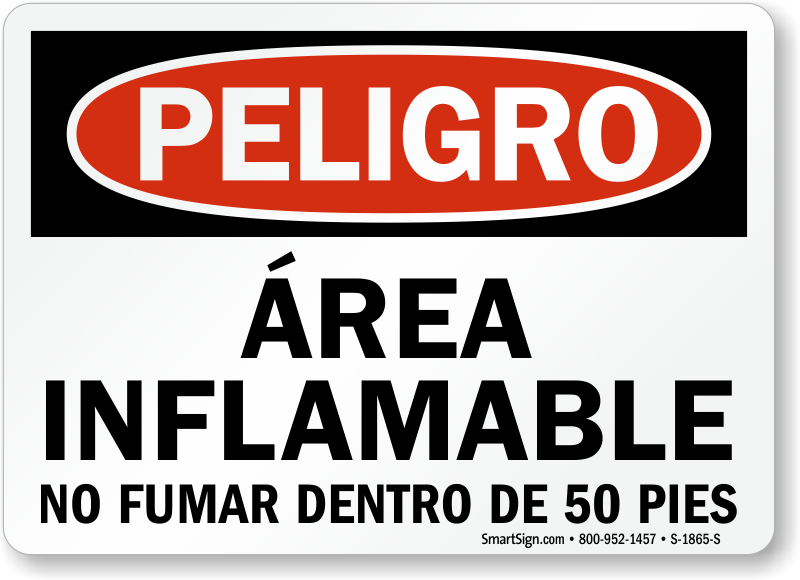 Area Inflamable No Fumar 50 Pies Spanish Sign