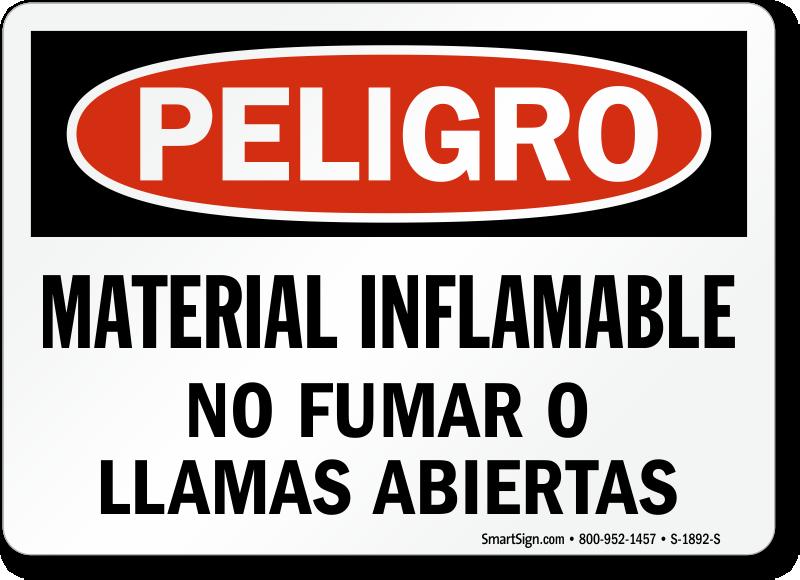 Material Inflamable No Fumar Llamas Abiertas Spanish Sign