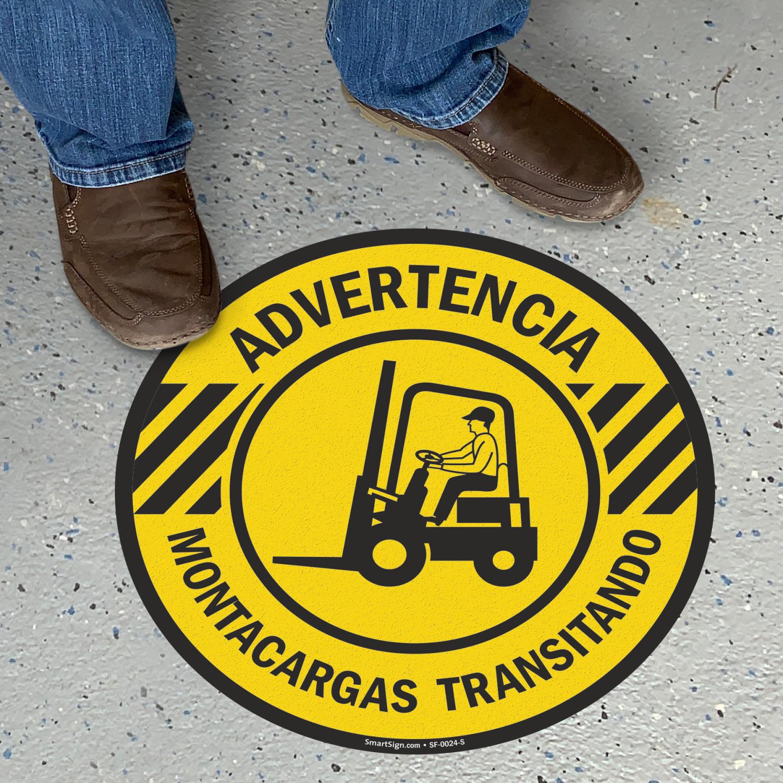 Spanish Advertencia Montacargas Transitando, Forklift Traffic Floor Sign