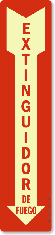 Spanish Glowing Fire Extinguisher Sign, Extinguidor De Fuego