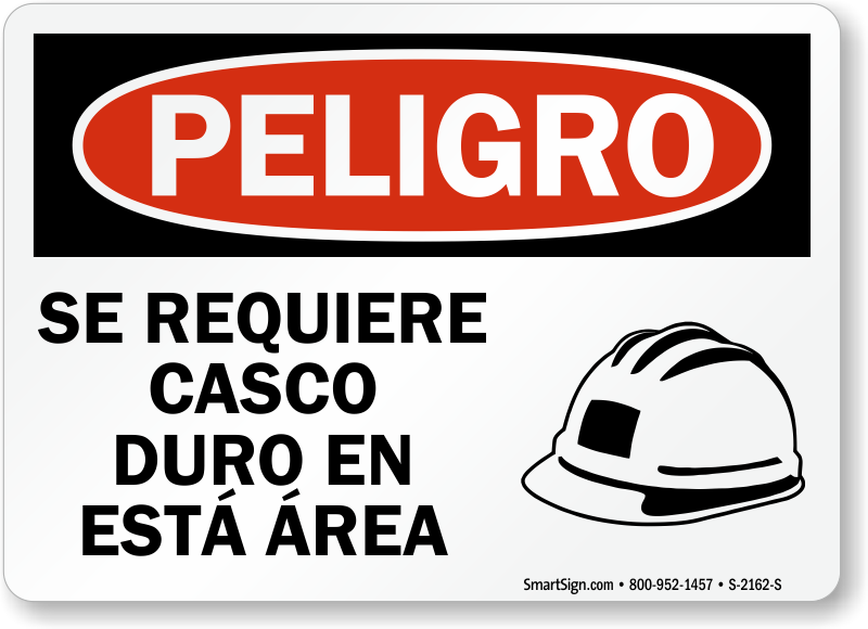 Spanish Peligro Se Requiere Casco Duro Sign