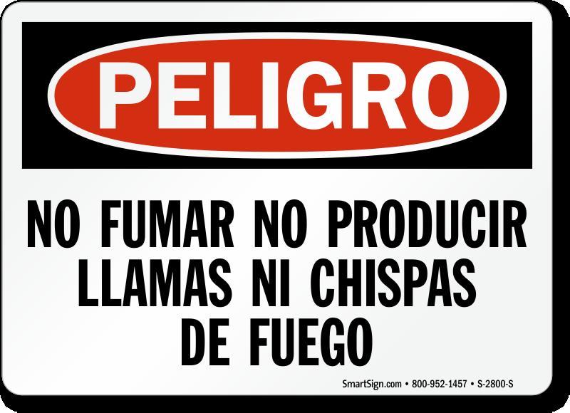 No Fumar Llamas Chispas De Fuego Spanish Sign