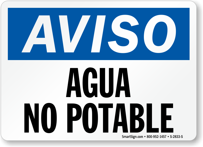 Aviso Agua No Potable Spanish Sign