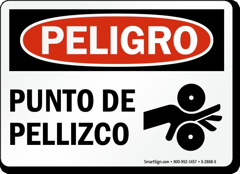 Punto De Pellizco Peligro Sign, Spanish Pinch Point