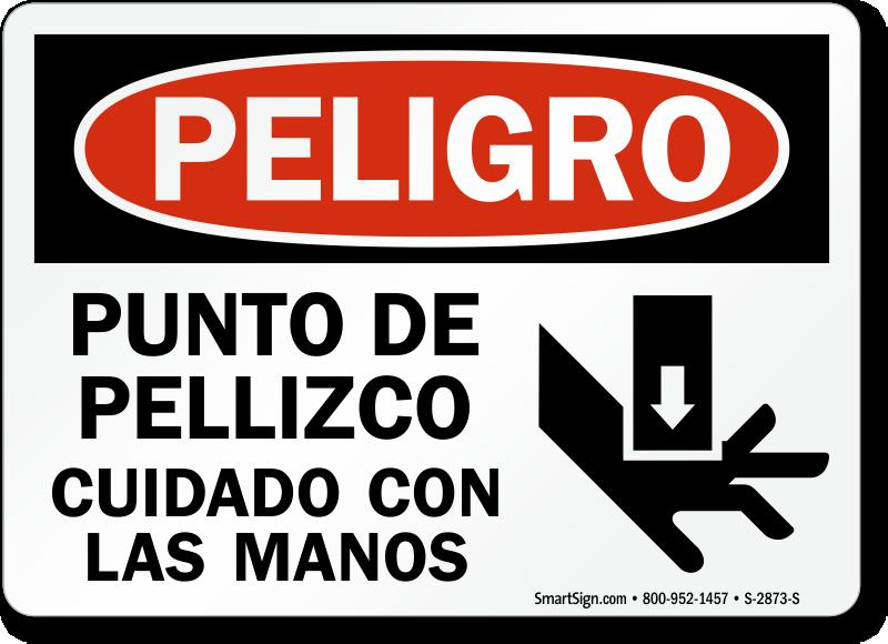 Punto De Pellizco Cuidado Con Las Manos Spanish Sign