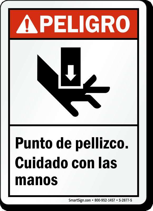 Spanish ANSI Peligro Punto De Pellizco Sign