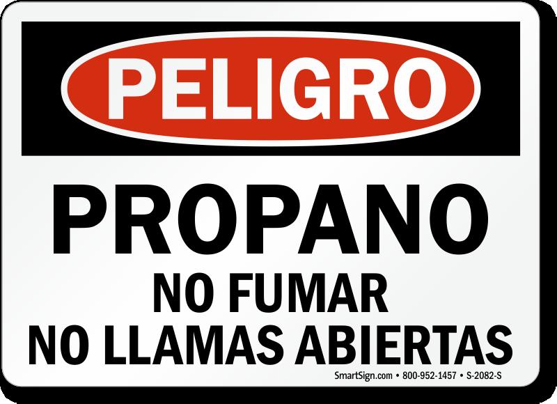 Propano No Fumar No Llamas Abiertas Spanish Sign