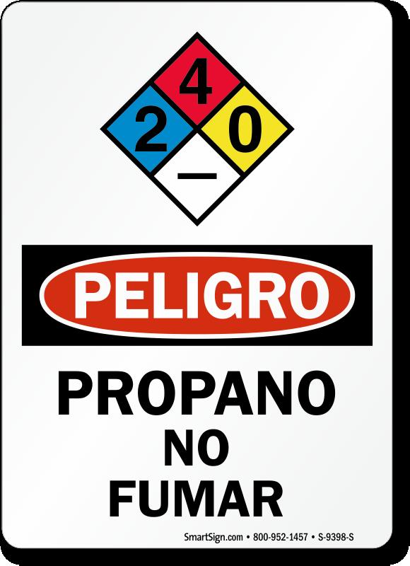Propano No Fumar Propane No Smoking Spanish Sign