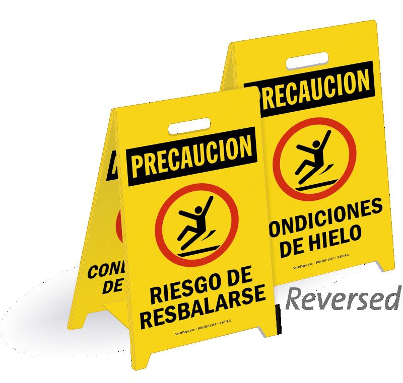 Riesgo De Resbalarse, Condiciones De Hielo Spanish Sign