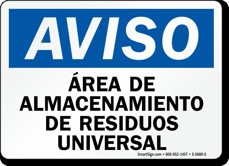 Area De Almacenamiento De Residuos Universal Spanish Sign