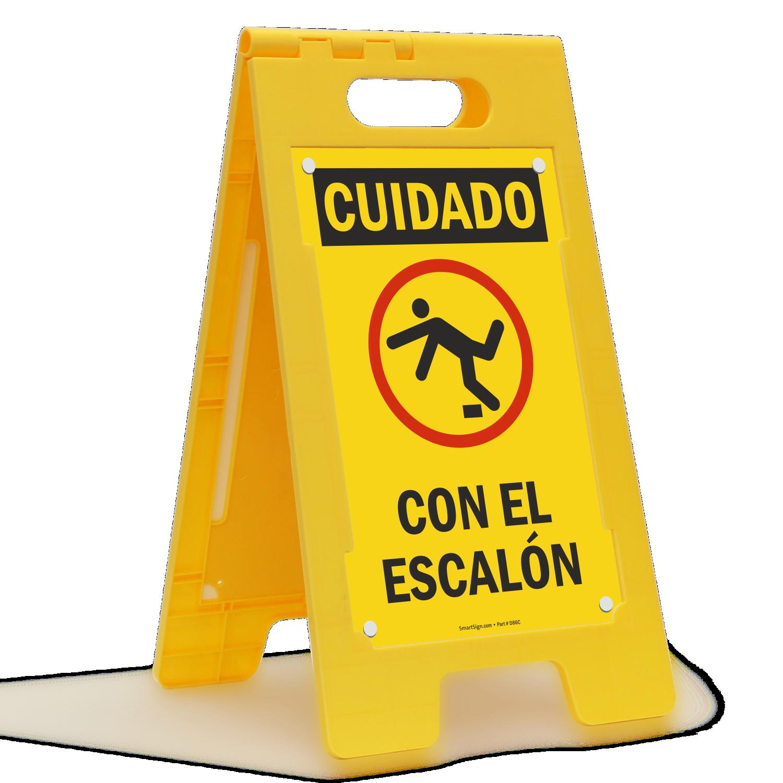 Cuidado Con El Escalon, Spanish Standing Floor Sign