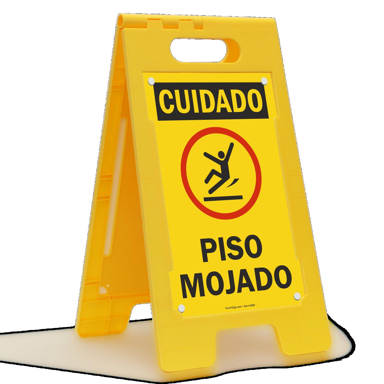 Cuidado Piso Mojado, Spanish Wet Floor Standing Sign