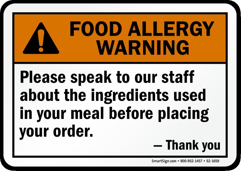 Speak To Staff About Ingredients Allergy Sign
