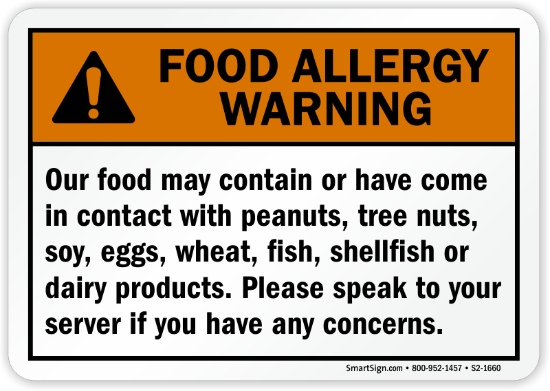 Speak To Your Server Food Allergy Sign
