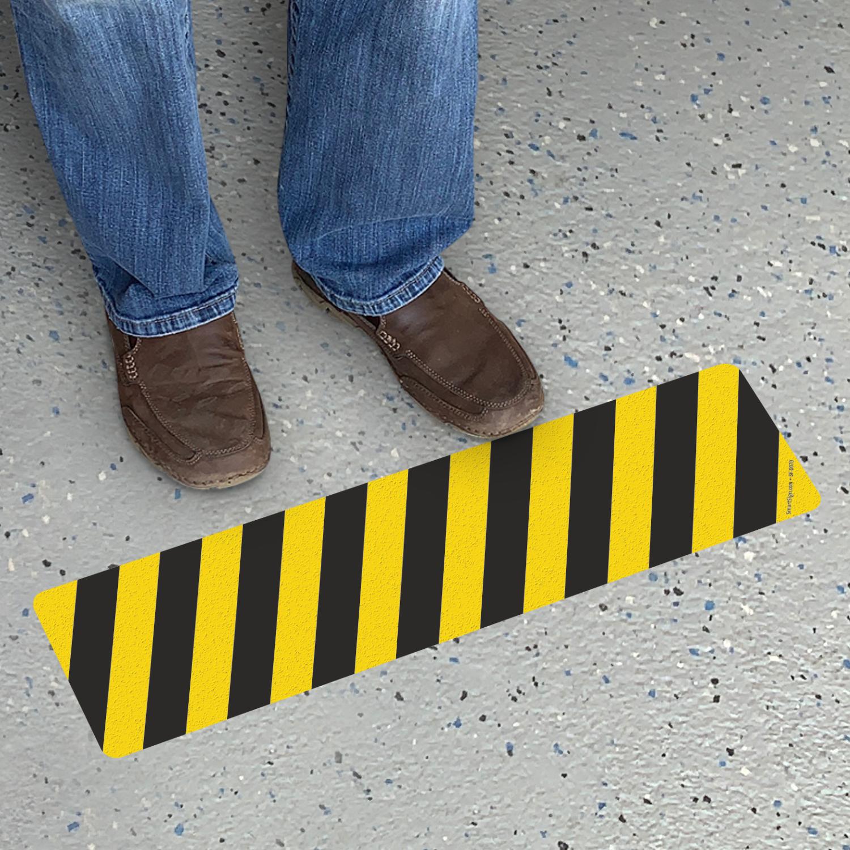 Yellow And Black Caution Stripes Adhesive Vinyl Floor