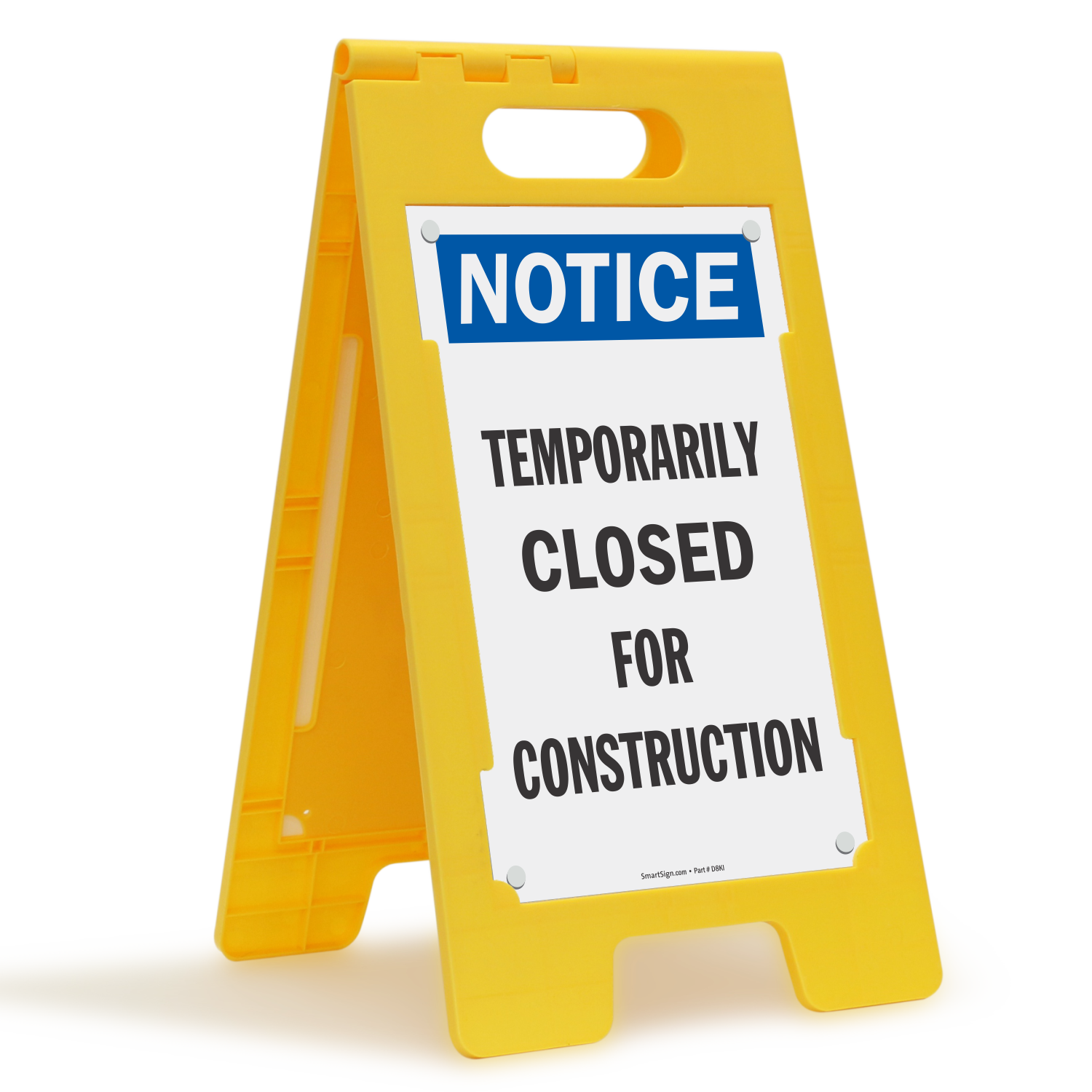 Temporarily Closed For Construction Notice Floor Standing Sign