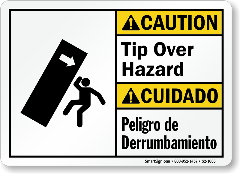 Tip Over Hazard Bilingual Caution Sign