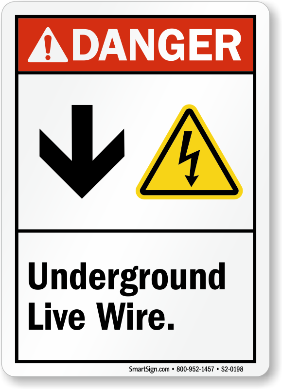 Underground Live Wire Sign With Down Arrow Electric Symbol, SKU: S2 ...