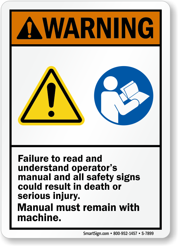 Failure To Read Operator's Manual, Result Death Sign