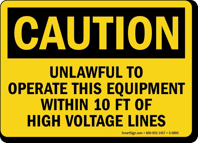 Caution Unlawful Equipment High Voltage Sign