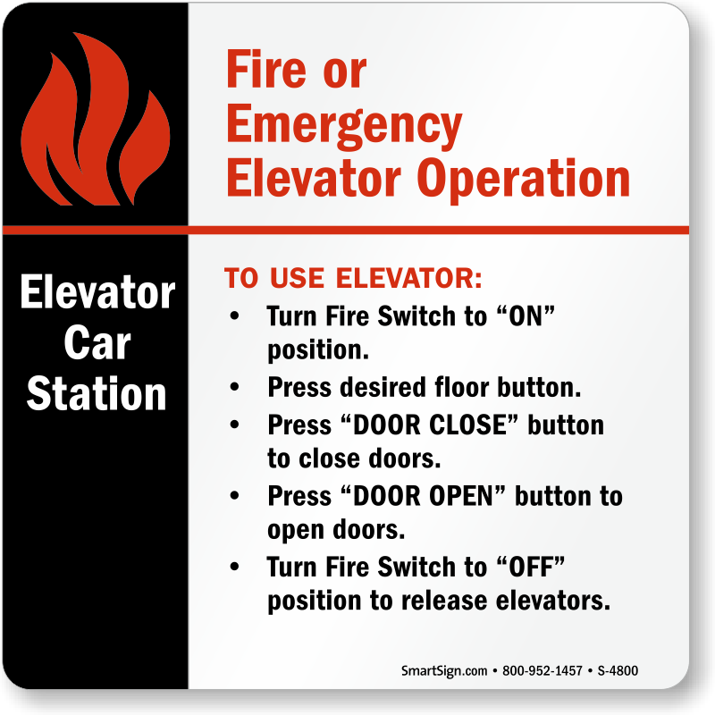 To Use Elevator Sign Sku S 4800 Mysafetysign Com