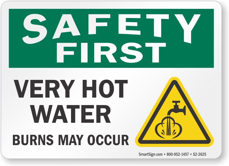 Hot Water Signs Live Steam Warning Signs