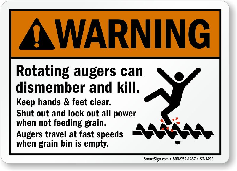 Rotating Augers Can Dismember, Keep Clear Sign
