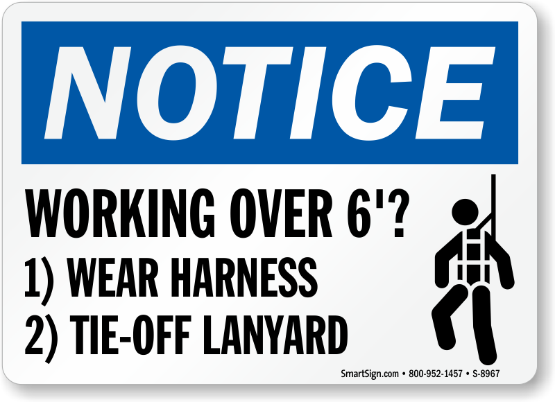 Safety Harness Signs | Harness Required Signs