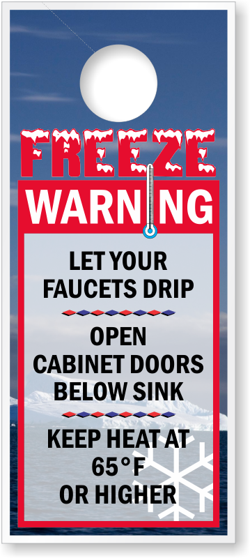Freeze Warning Keep Heat 65° Door Hanger Tag