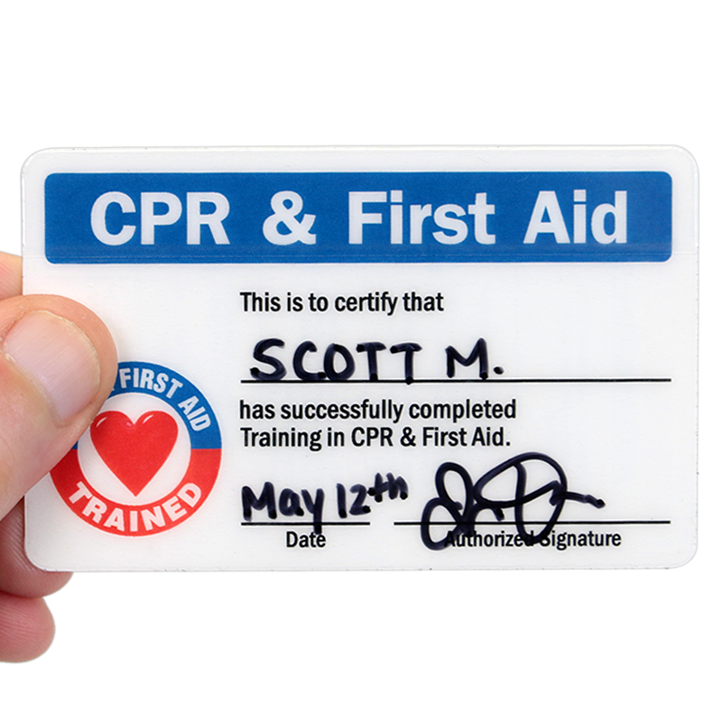 Cpr First Aid Trained Self Laminating 2 Sided Wallet Card Sku