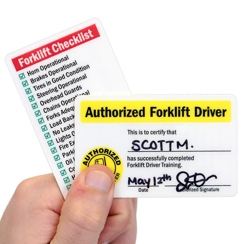 Self Laminating Forklift Certification Wallet Card Sku Bd 0389 Sl