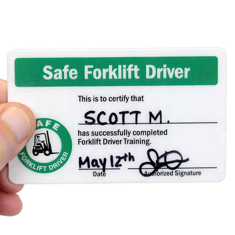 Self Laminating Forklift Wallet 2-Sided Card