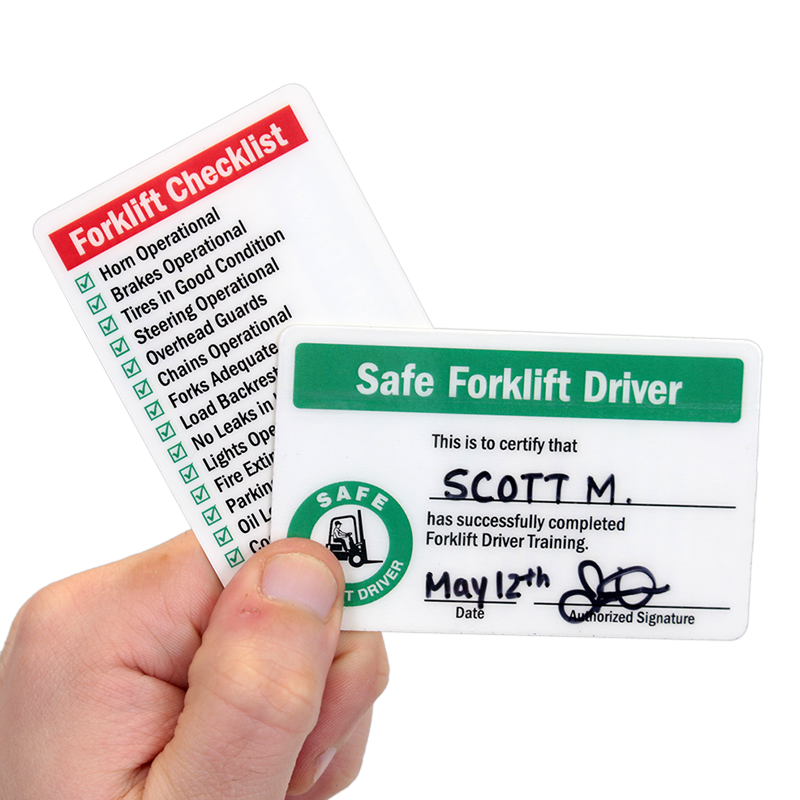Self Laminating Forklift 2-Sided Wallet Cards