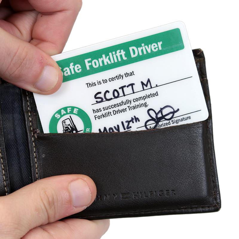 Self Laminating Forklift Wallet Cards (2-Sided)