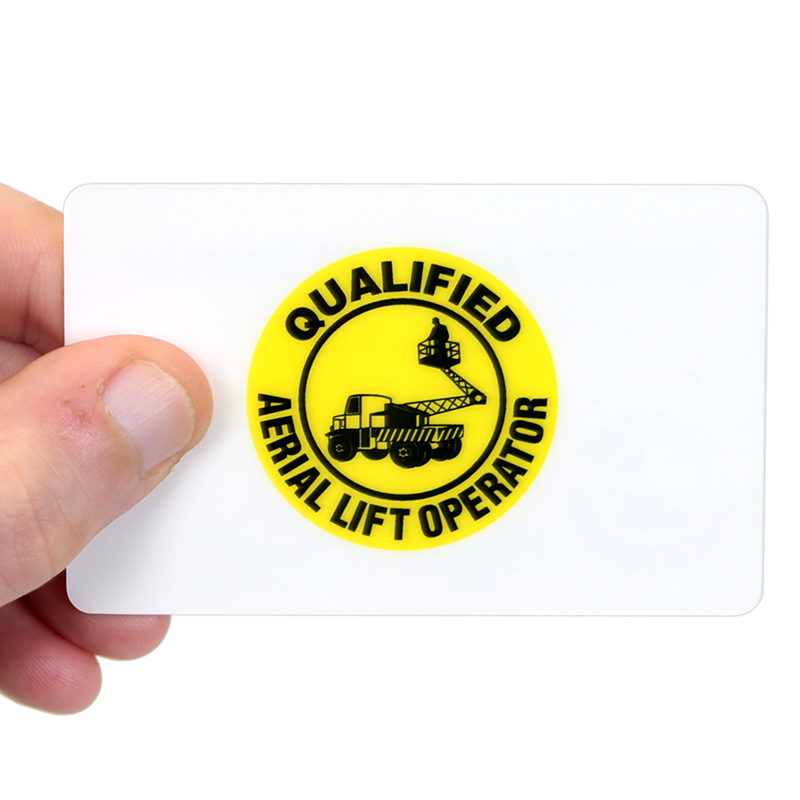 qualified aerial lift operator wallet card double sided
