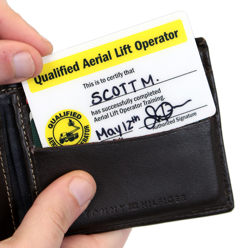 Qualified aerial lift operator certification wallet card for Federal motor carrier safety regulations handbook pdf