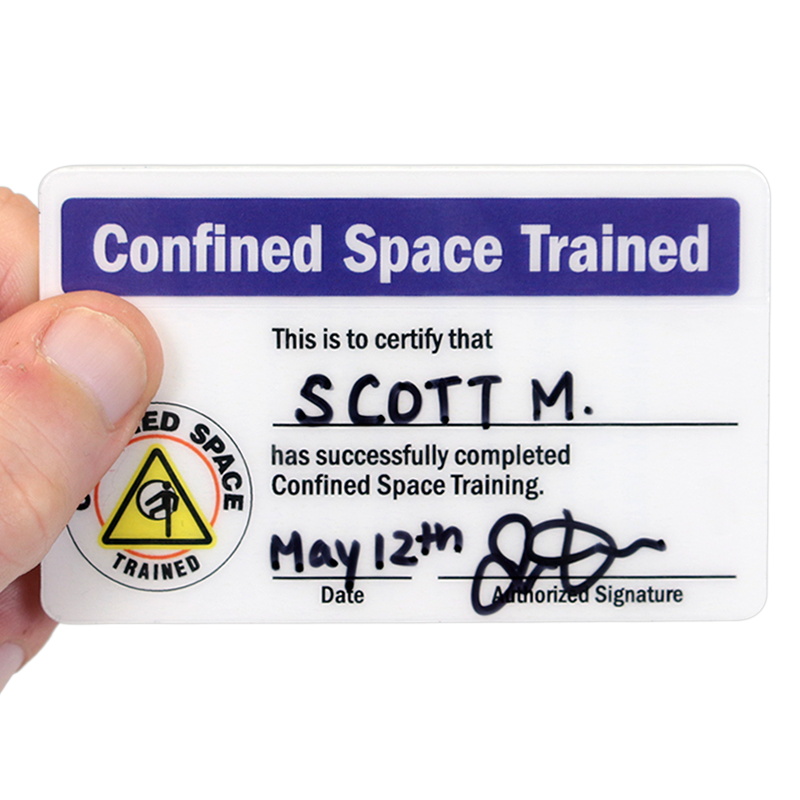 Self Laminating Certification Wallet Card Signs Sku Bd 0401 Sl