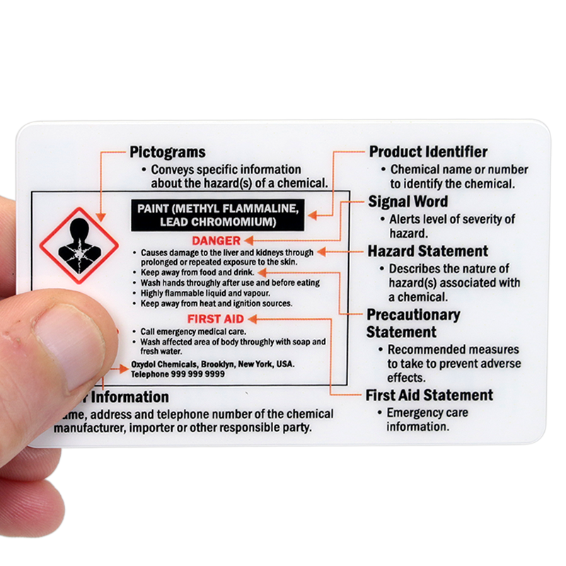 Ghs Hazard Symbols And Classes 2 Sided Safety Wallet Card Sku Bd 0403