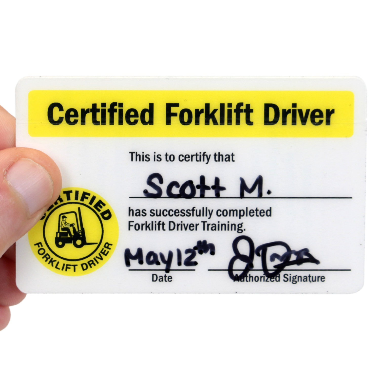 2 Sided Forklift Driver Training Certificate Wallet Card Sku Bd