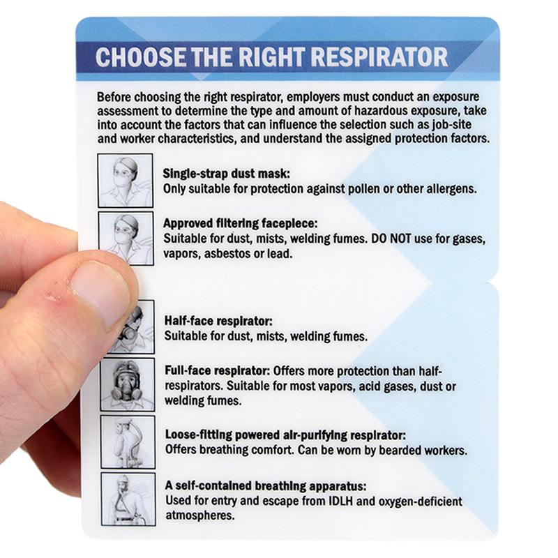 choose the right respirator bi fold laminated wallet card sku bd 0654
