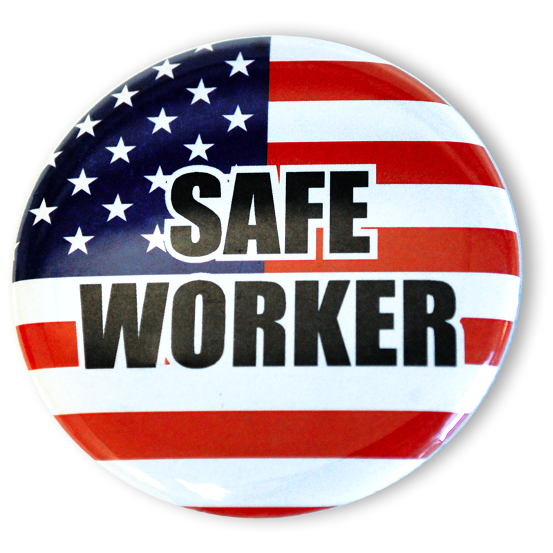Safe Worker (American Flag) Buttons