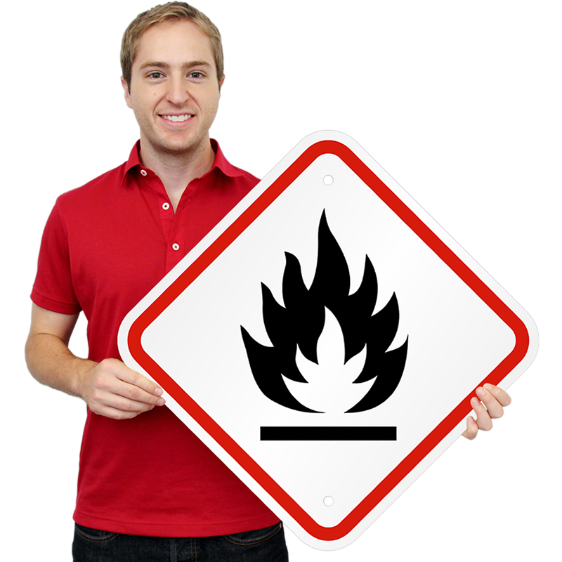 GHS Flammable Hazard ISO Signs