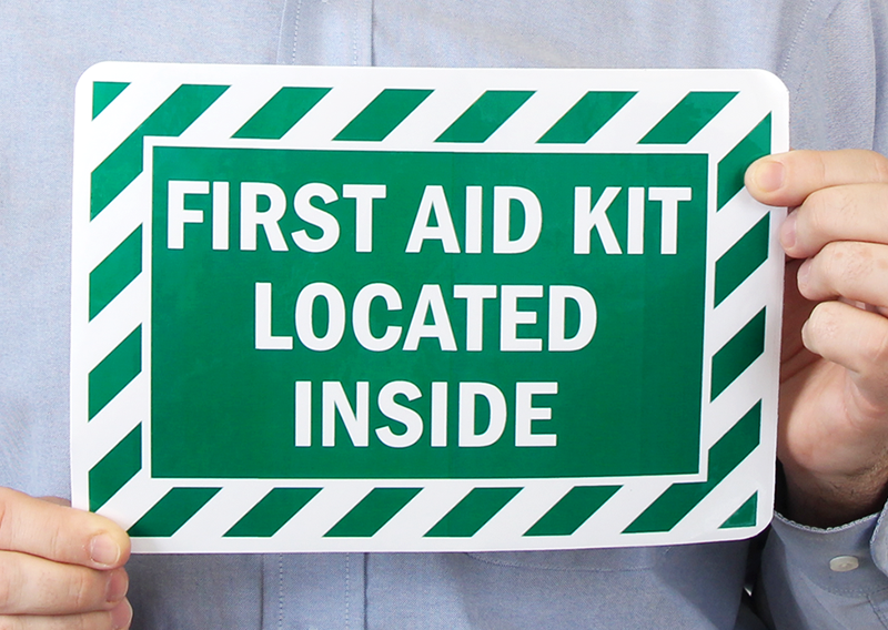 First Aid Kit Located Inside Labels