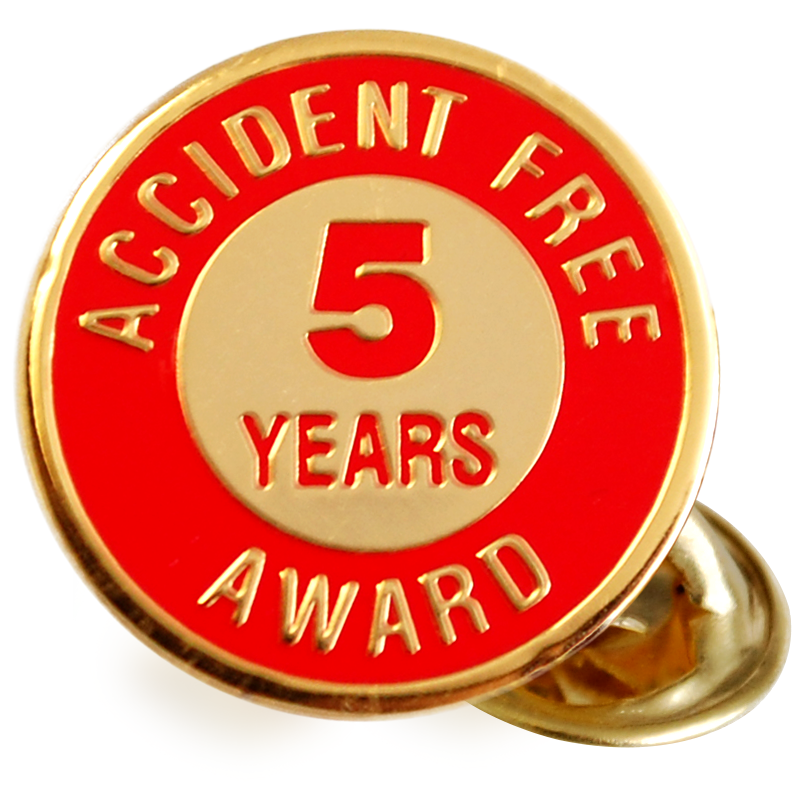 Enameled Metal 5 Years Lapel Pin