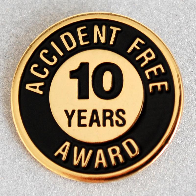 accident free award 10 years pin sign  sku