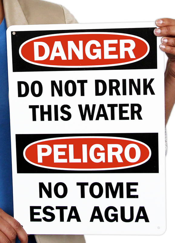 Bilingual Danger Do Not Drink Water Signs
