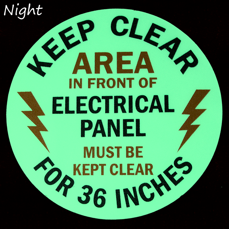 Keep Clear 36 Inches, Electrical Panel Glow Floor Signs