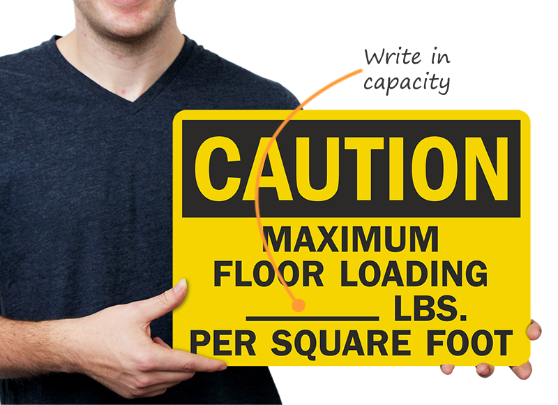 Caution Maximum Floor Loading Signs