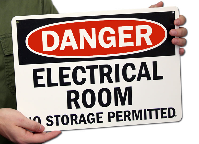 Danger Electrical Room Storage Permitted Signs
